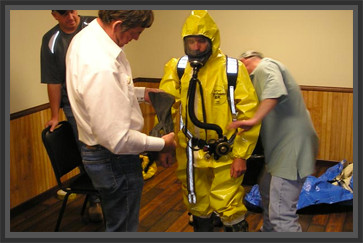 Oil Work putting on hazmat suit, Texas - Oil & Gas Safety - Taylor Safety - Longview, TX